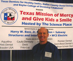 Dentist Dr. Dale Greer volunteering at Texas Mission of Mercy in Dallas