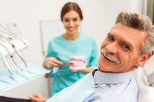 Senior man in dental chair